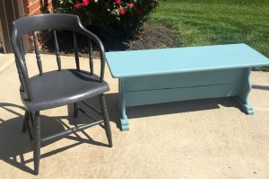 Gray Painted Chair and Azurite Blue Painted Bench