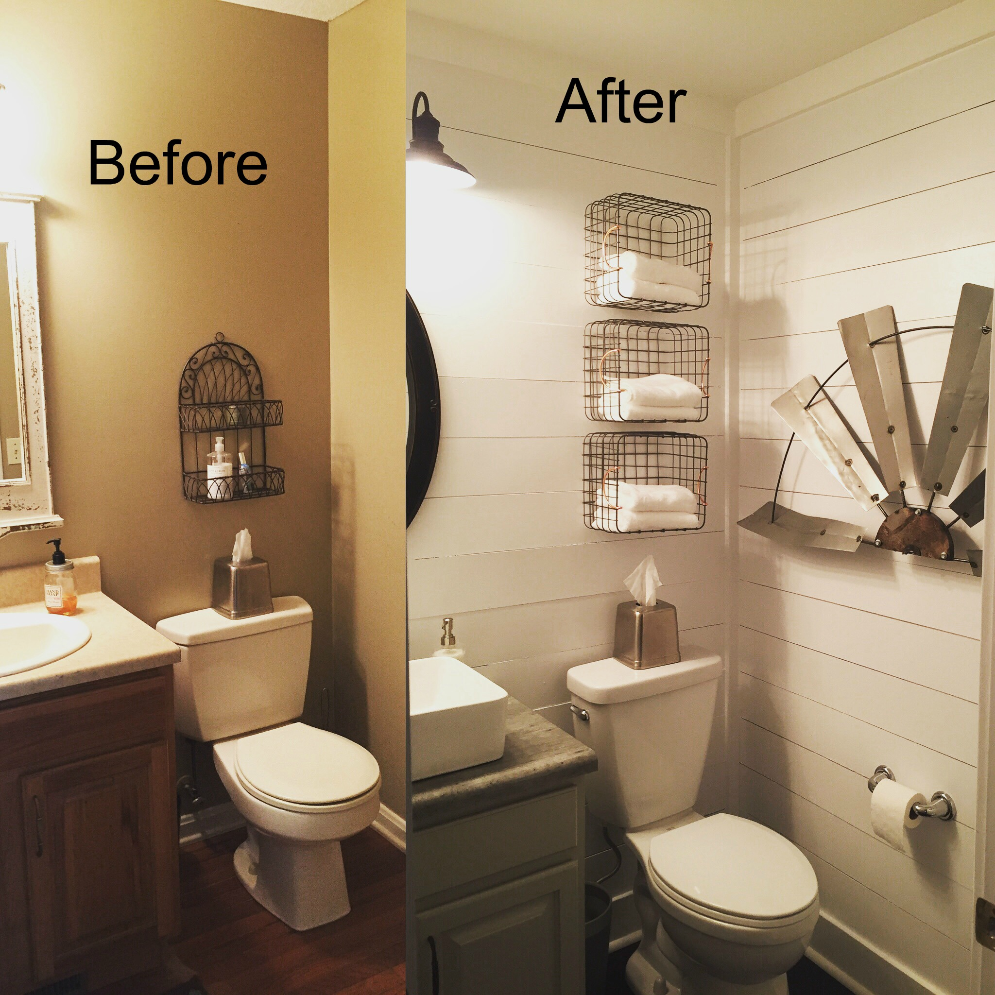 Do it yourself beautiful farmhouse bathroom remodel for Guest bathroom remodel ideas