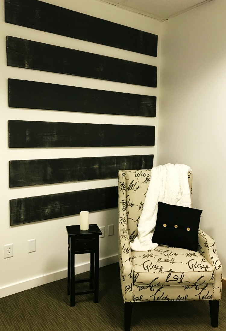 Modern farmhouse wall treatments in an office