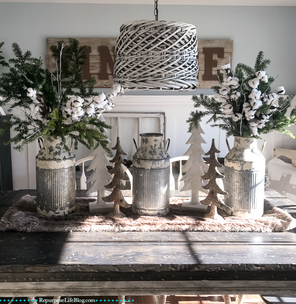 This Year I Gathered Sticks From The Yard And Spray Painted Them White To Add My Different Arrangements Christmas Is Here Farmhouse Style Holiday Home