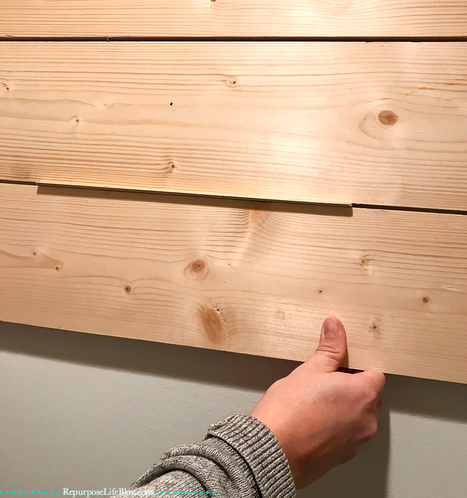 how to shiplap walls using pinewood and why i 39 m not a fan repurpose life. Black Bedroom Furniture Sets. Home Design Ideas