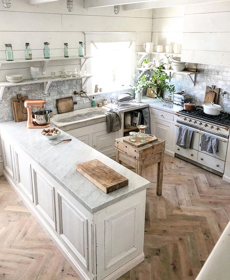 Herringbone flooring in a kitchen