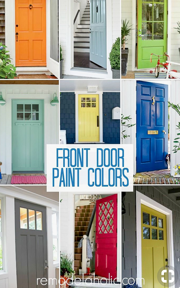 Many different styles and colors of doors
