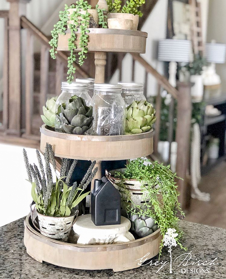 Succulents in a turnstyle on a table