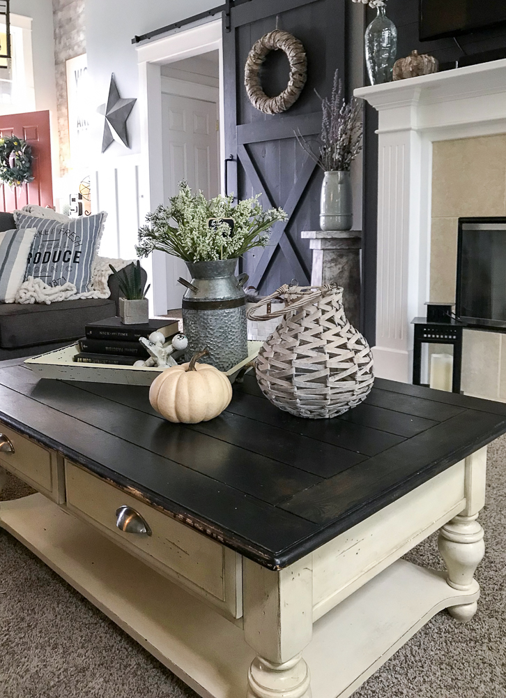 coffee table with fall decor