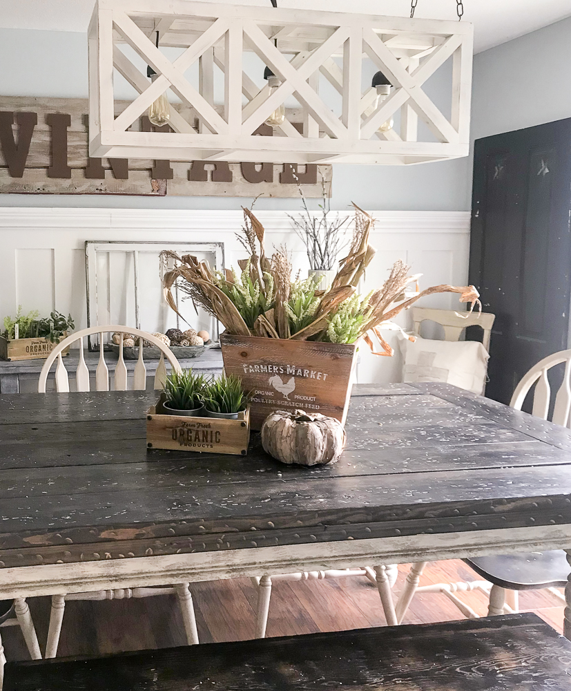 farmhouse table with fall decor