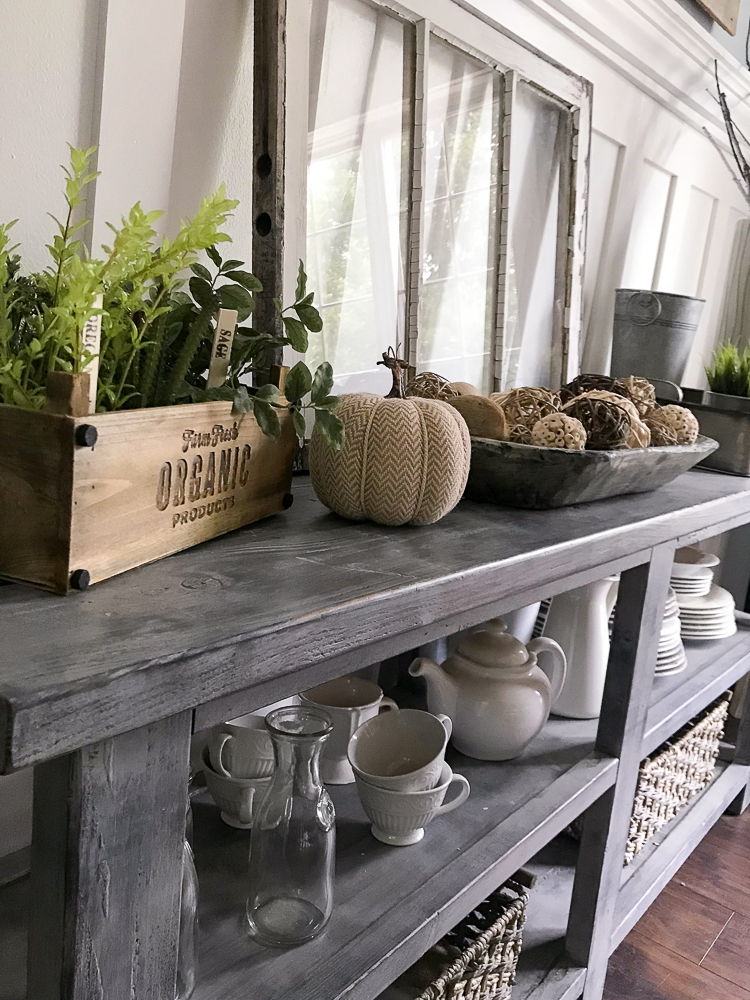 sideboard with fall decor
