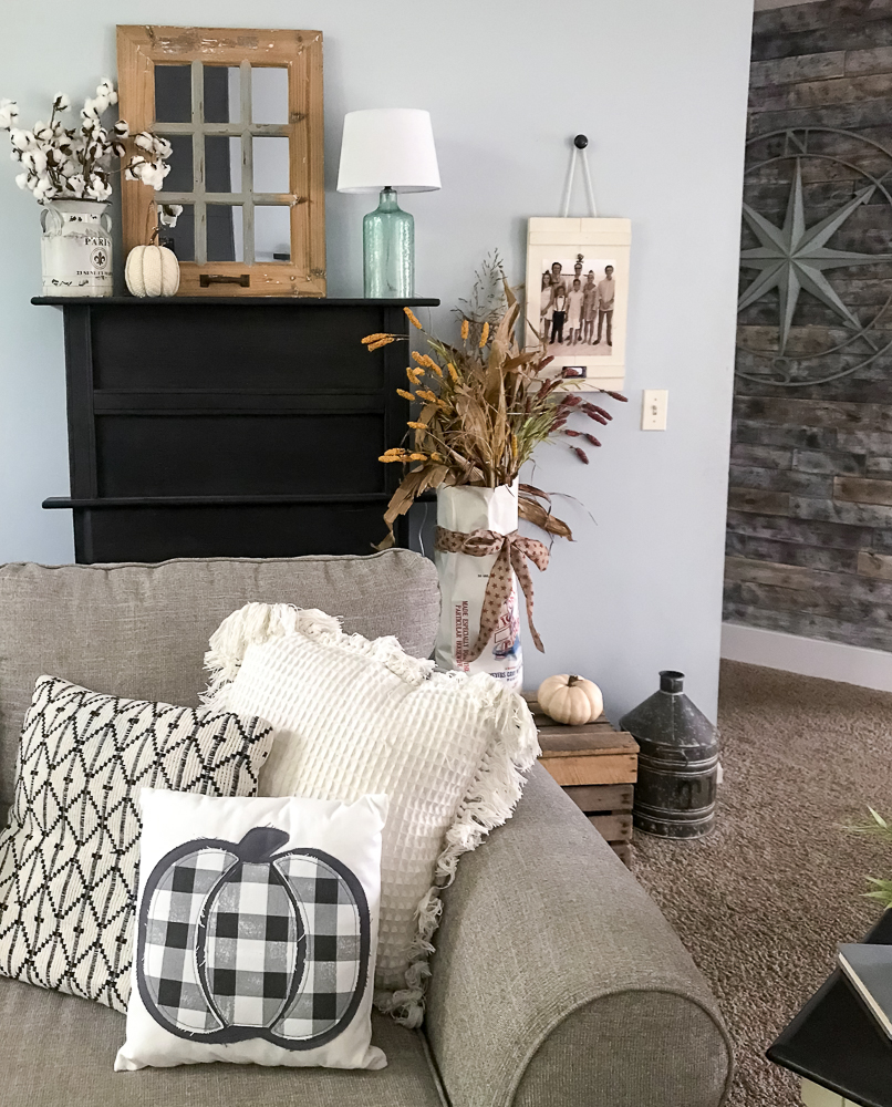 faux fireplace with fall decor