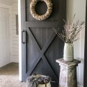 sliding barn door in family room