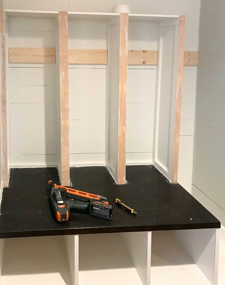locker space in a mudroom