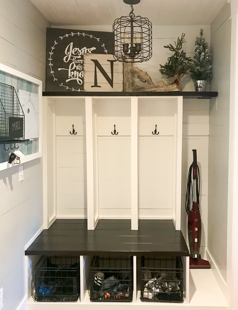 mudroom with christmas decor