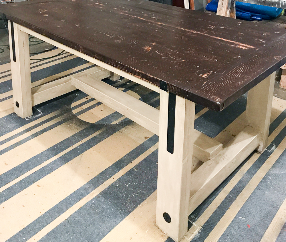 farmhouse table with industrial hardware