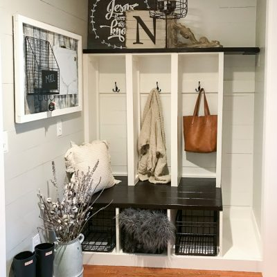 Mudroom Makeover Final Reveal-One Room Challenge Week 6