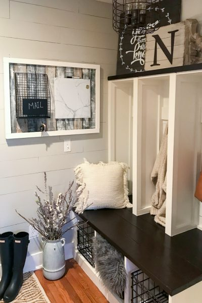 mudroom decorated