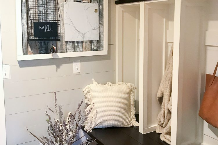 mudroom decorated with shiplap using underlayment