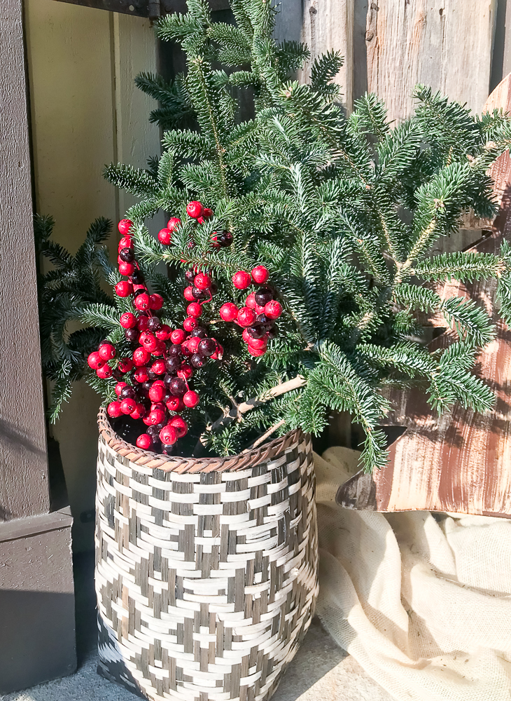 basket with berries and evergreen boughs