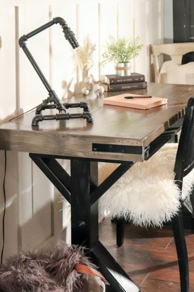 modern industrial desk with modern farmhouse wall treatments