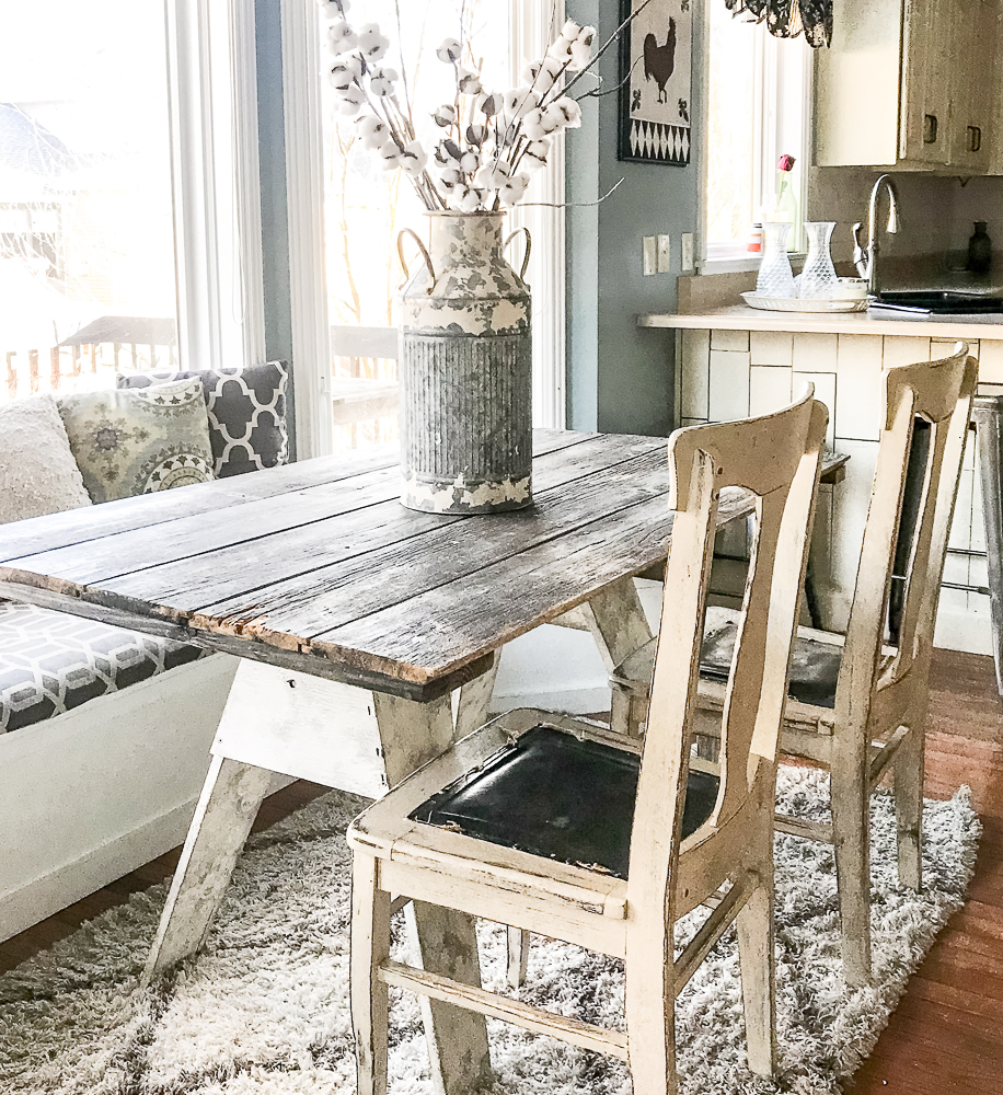 Sawhorse table made with an old barn door