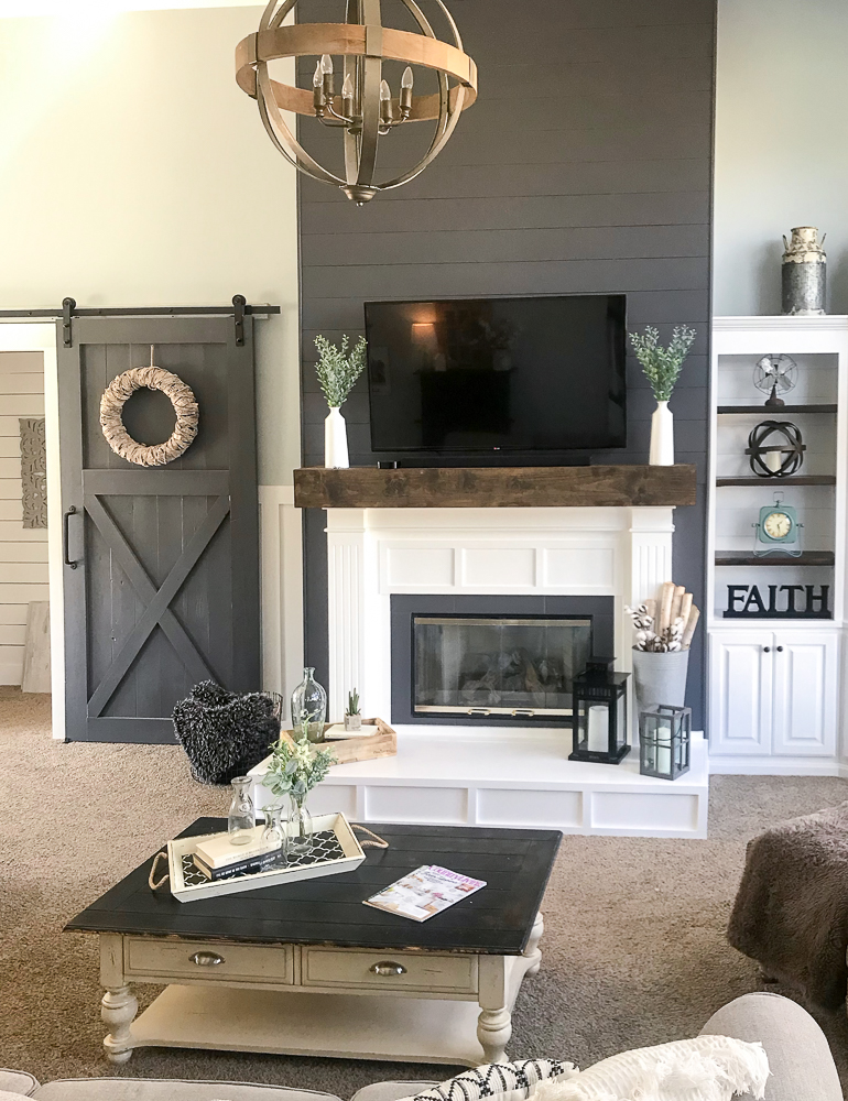 family room with coffee table and farmhouse decor