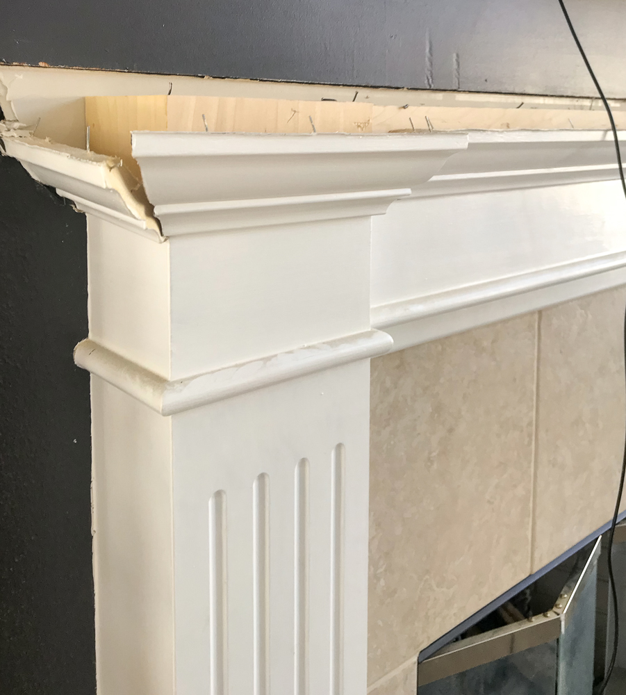 removing mantle for fireplace makeover