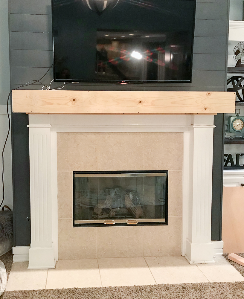 newly built mantle for fireplace makeover