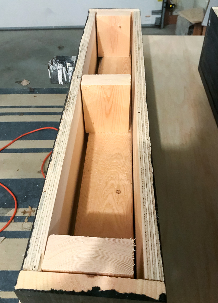 wooden box with cleats for floating shelves