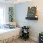 floating shelves styled with farmhouse decor