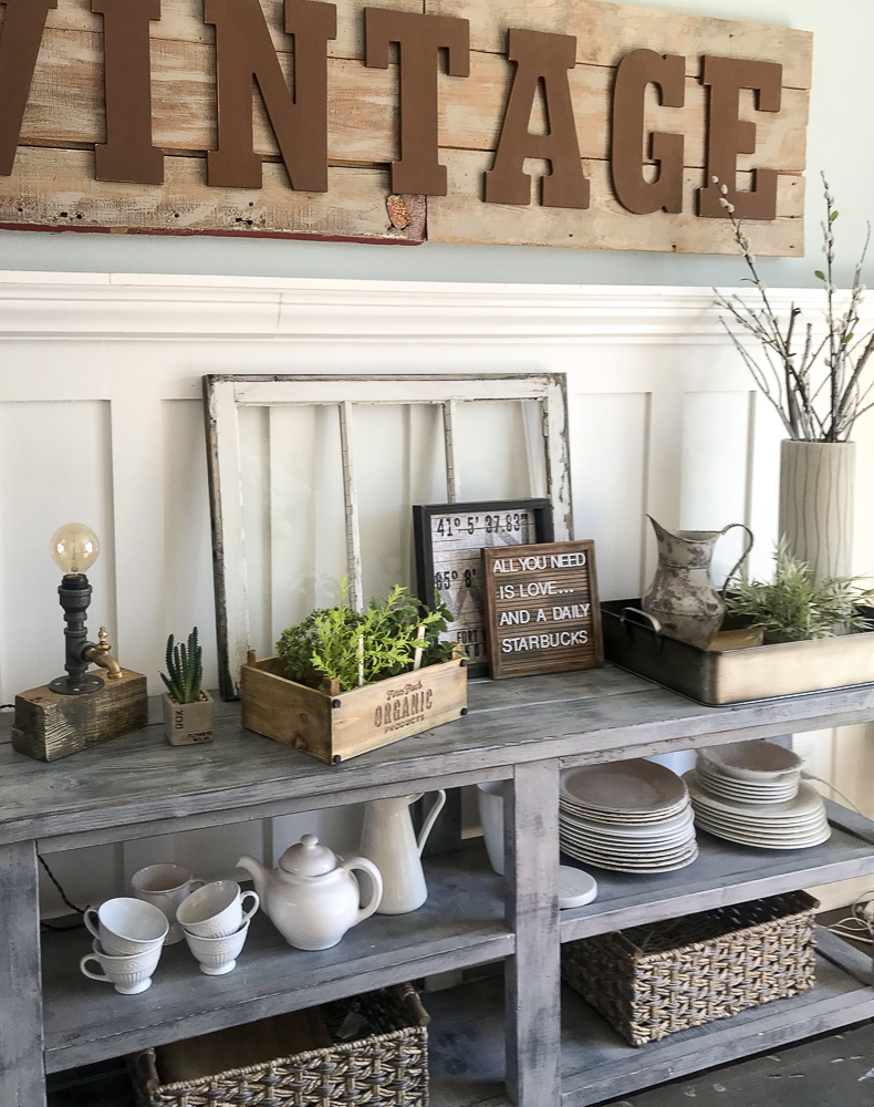 spring decor on sideboard