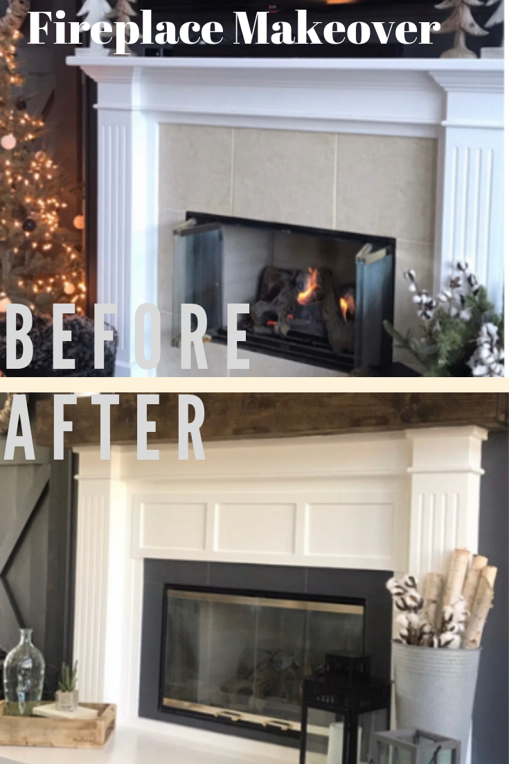 before and after of a fireplace makeover