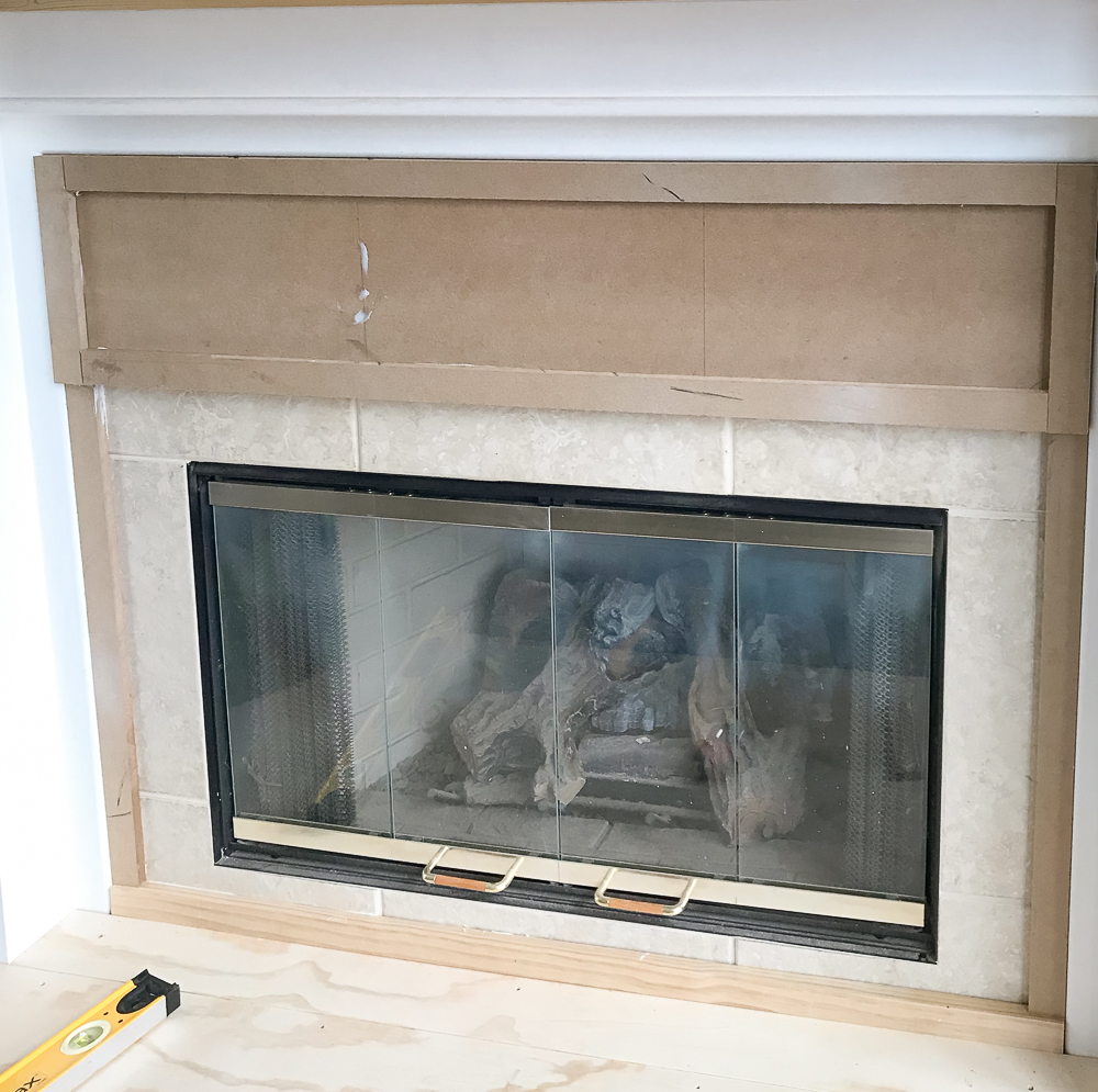 MDF added to tile on fireplace