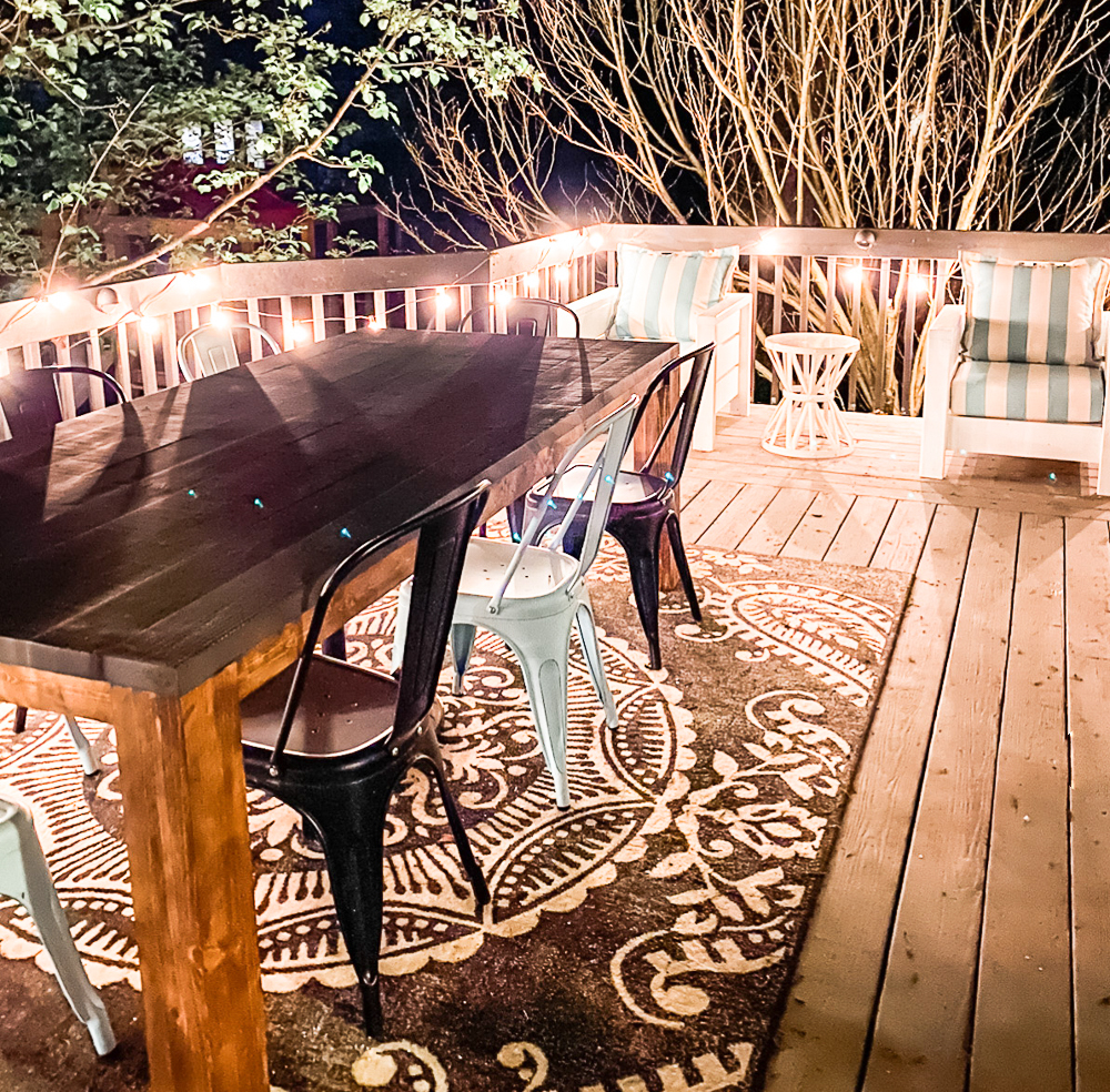 deck with nighttime ambiance lighting
