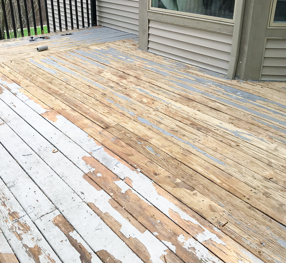 chipping and peeling paint off of a deck