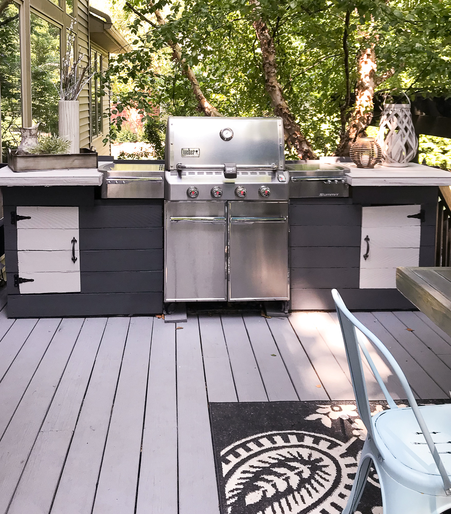 outdoor kitchen with a weber grill
