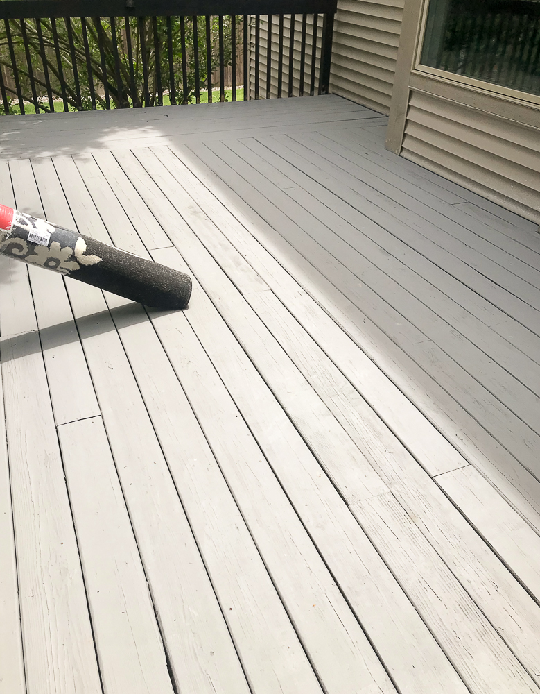 freshly painted gray deck