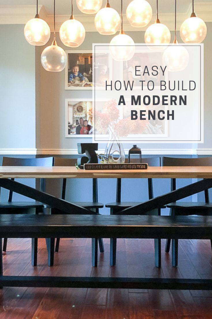 Pinterest pin modern farmhouse table and bench