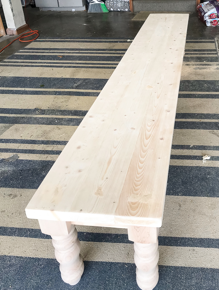 How To Build A Farmhouse Bench With Purchased Legs Repurpose Life