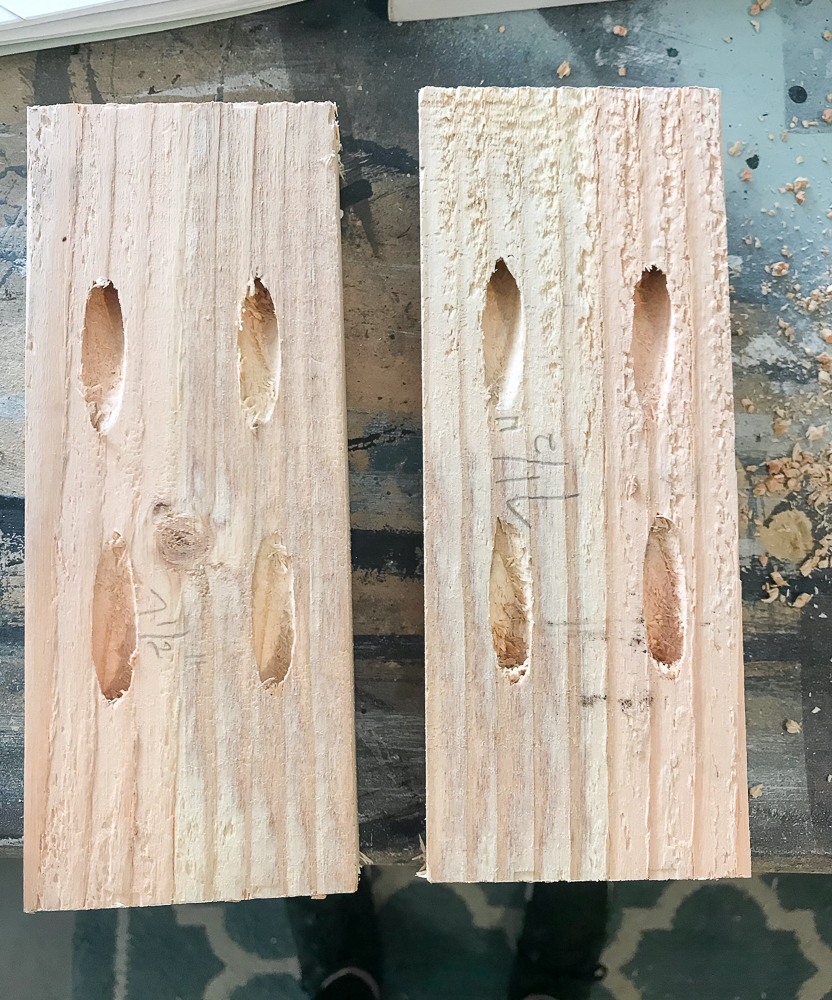 2 pine boards with pocket holes on both ends