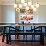 dining room with farmhouse table and modern bench