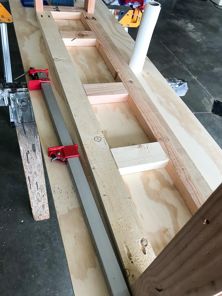 bench frame with supports