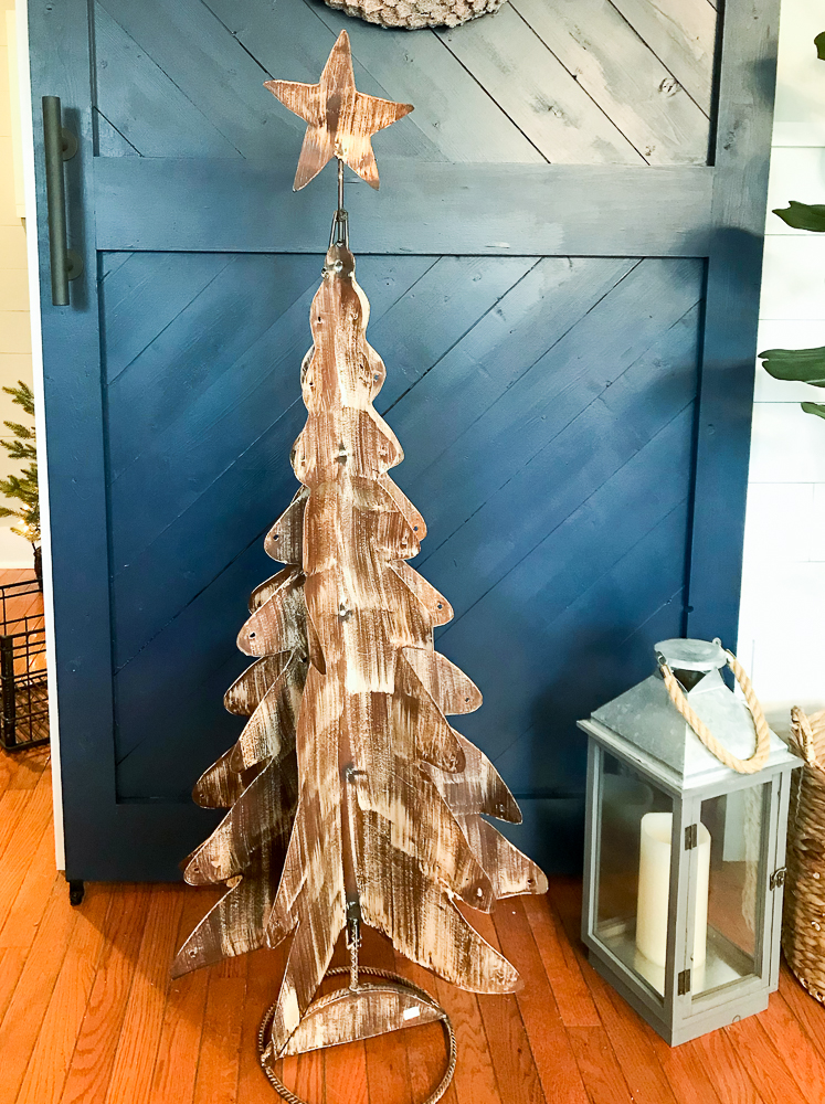 metal christmas tree painted rustic brown