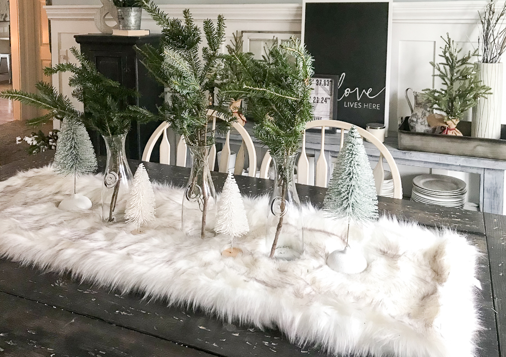 Holiday decor on dining room table