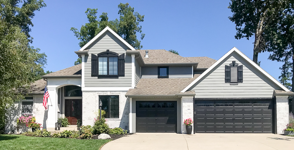 Craftsman home with gray exterior paint colors