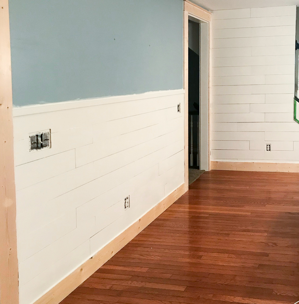 new shiplap and trim work in kitchen nook space