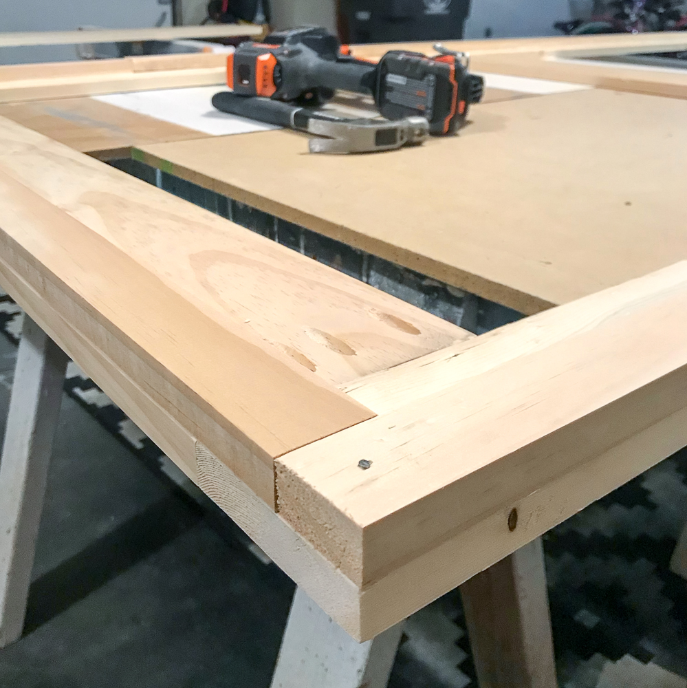 1x2 attached to 1x6 for sliding barn door build