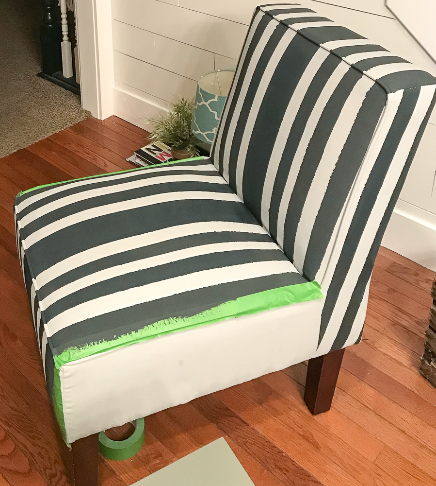 upholstery with gray chalk paint and black stripes