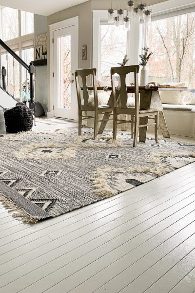 Kitchen table on a boho style rug