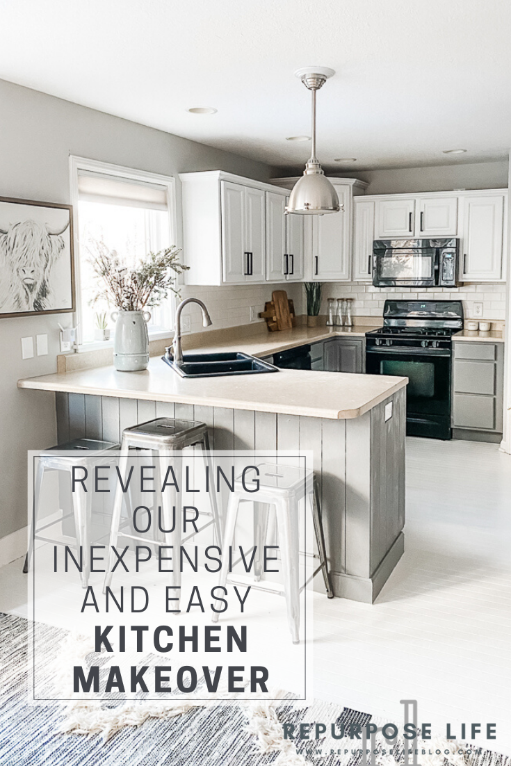 pin it for pinterest pin of kitchen makeover