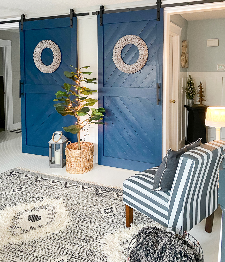 sliding barn doors in a nook area after makeover projects
