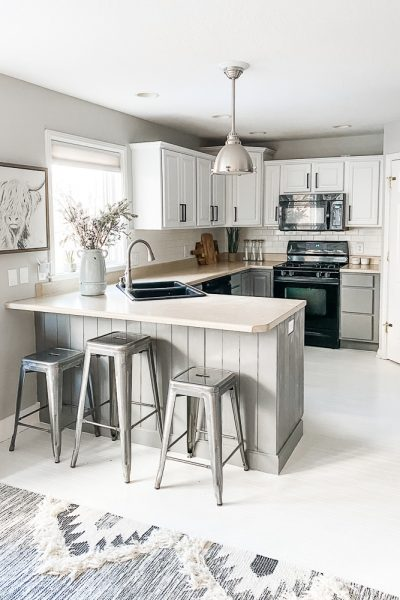 kitchen cabinets painted gray and white