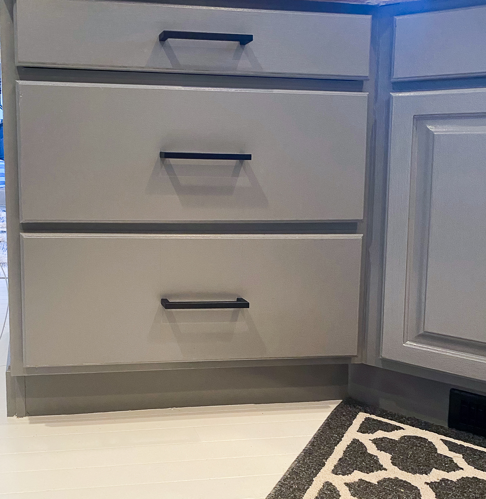kitchen drawers with black hardware